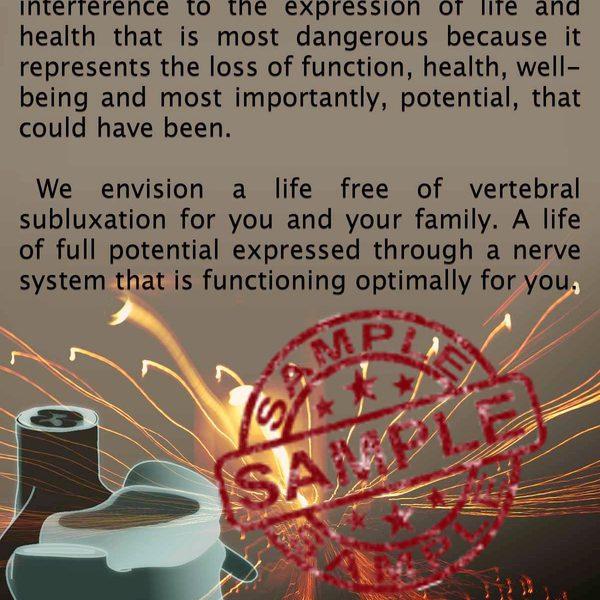 chiropractic is Subluxation brochure Back Sample