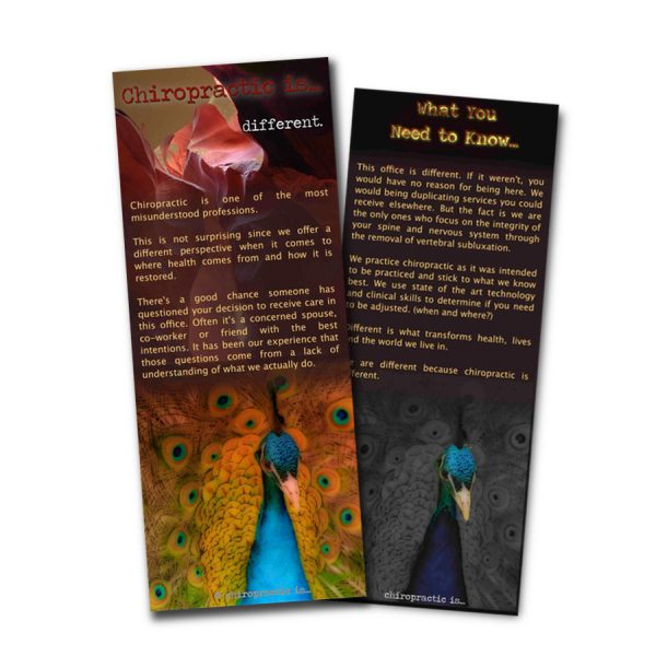 chiropractic is different brochure Front and Back Sample