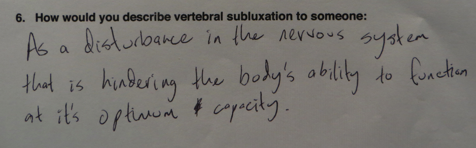 Definition of subluxation by a practice member