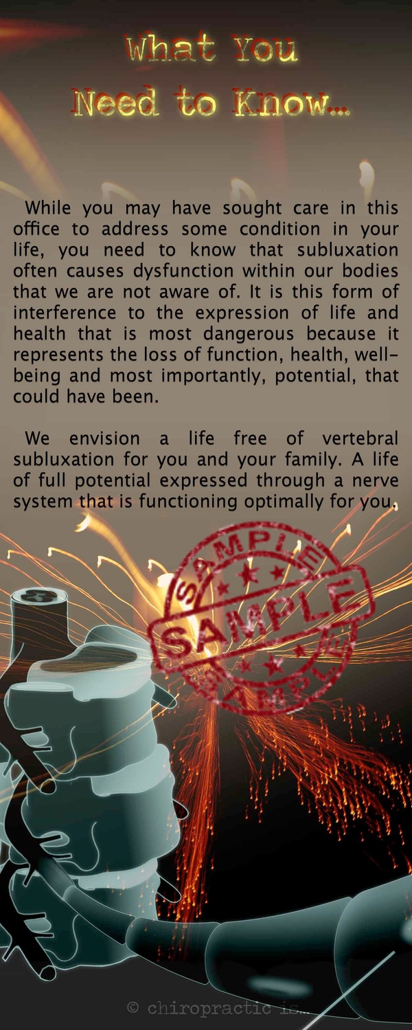 chiropractic is Subluxation brochure Back Sample