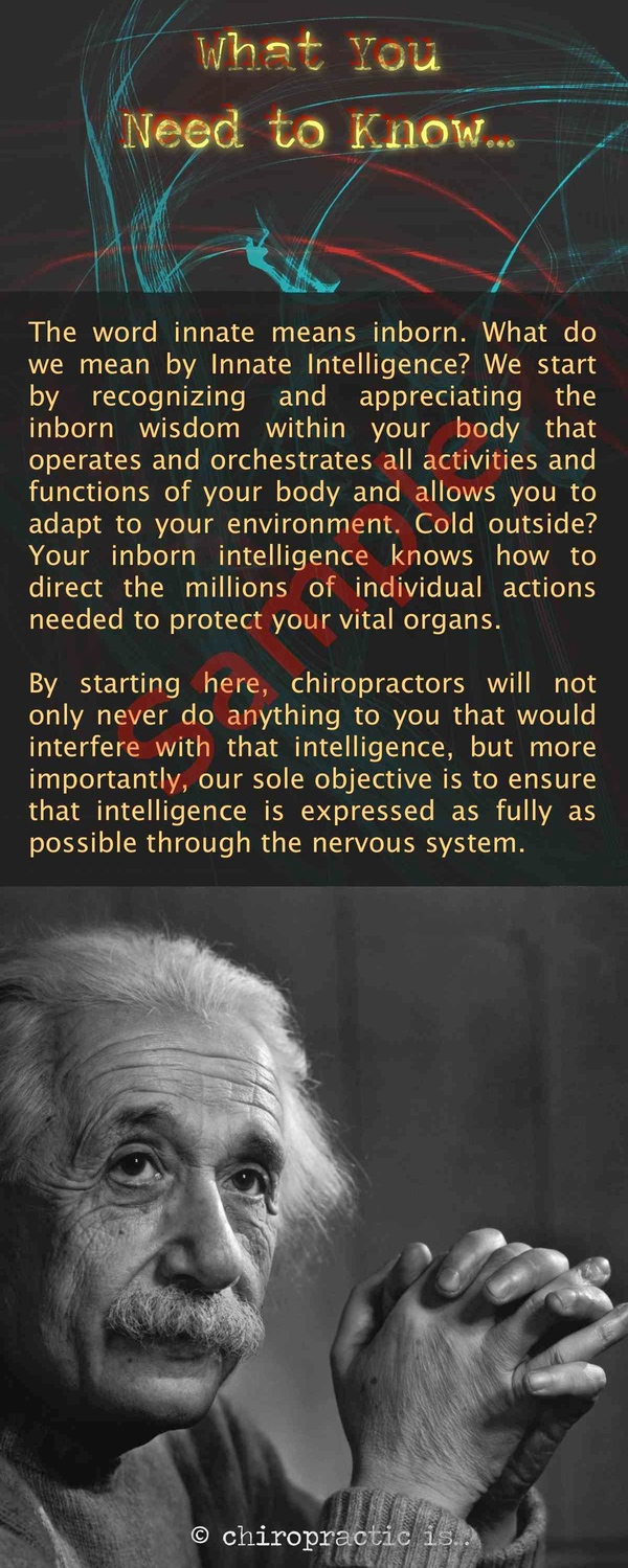 chiropractic is about Intelligence brochure Back Sample