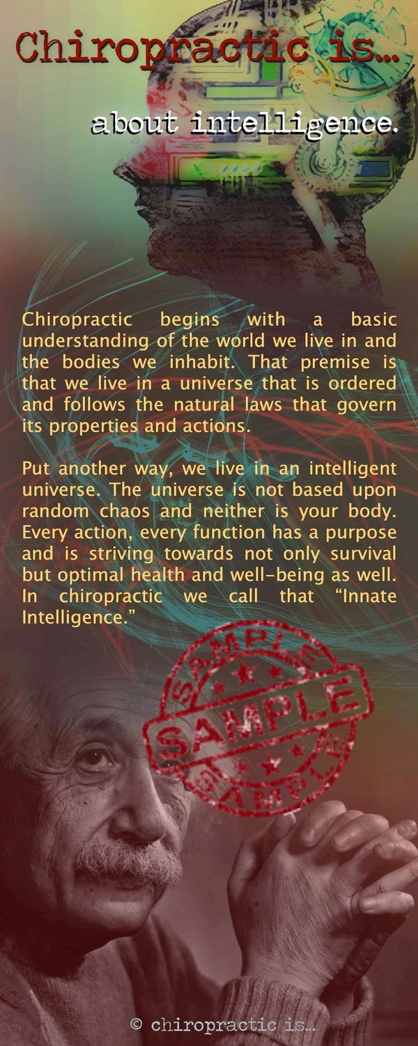 chiropractic is about Intelligence brochure Front Sample