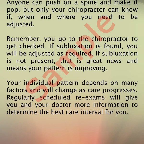 chiropractic is about getting checked brochure Back Sample
