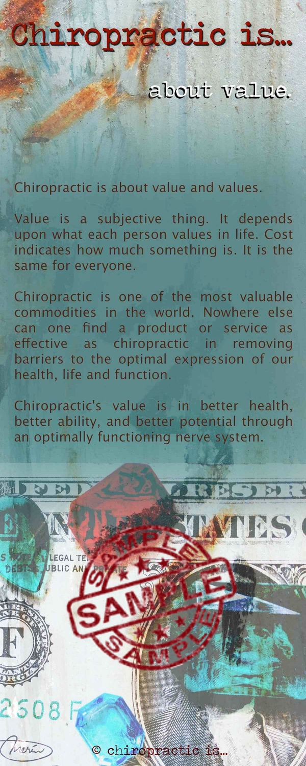 chiropractic is about value brochure Front Sample