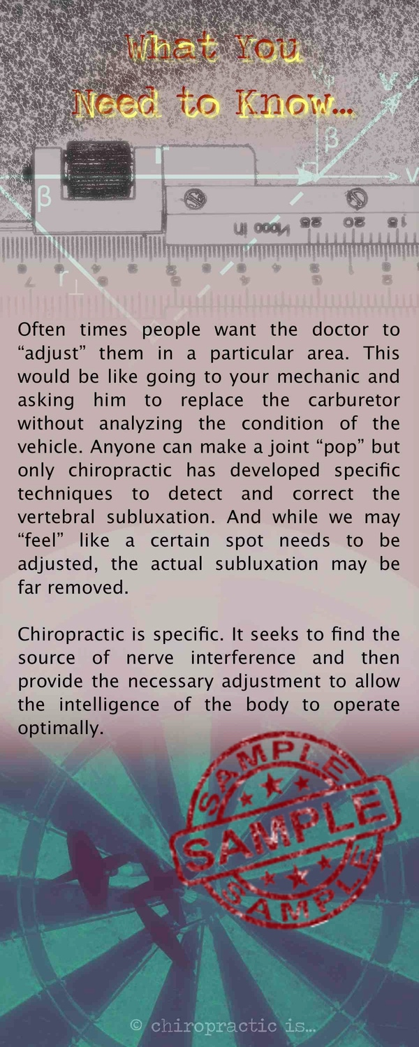 chiropractic is specific brochure Back Sample