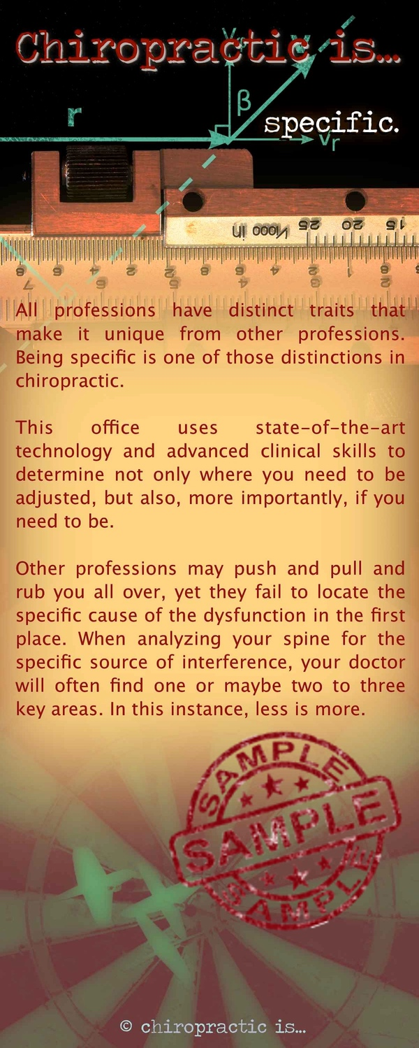 chiropractic is specific brochure Front Sample