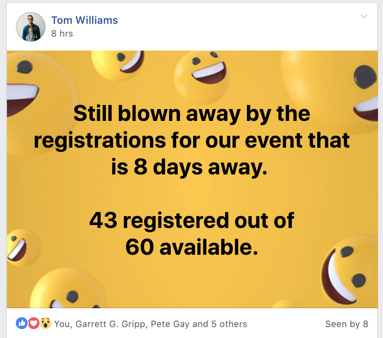 Waitlist Workshops Tom Williams Blown Away by Registrations
